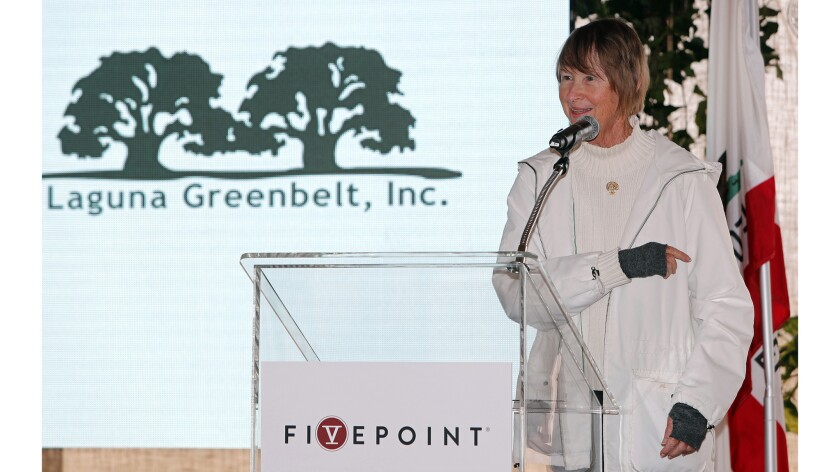 Elisabeth Brown, Ph.D., Laguna Greebelt, Inc. president, speaks during an event for the Irvine Wildl