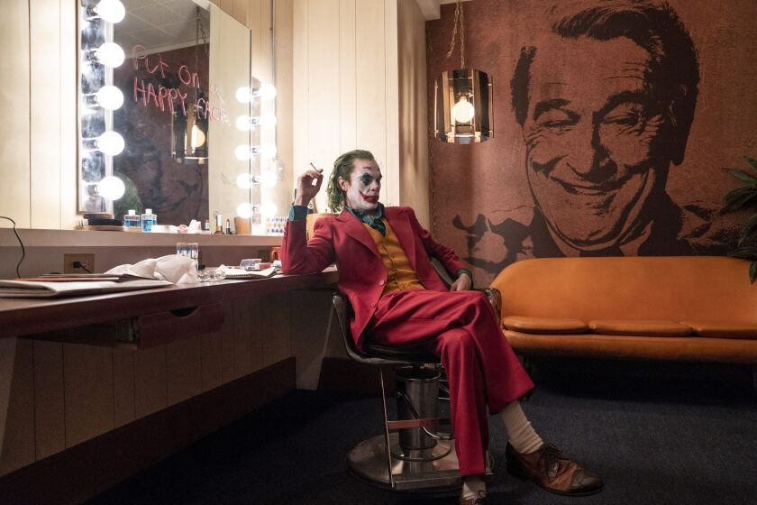 "Joaquin Phoenix in the movie ""Joker."""