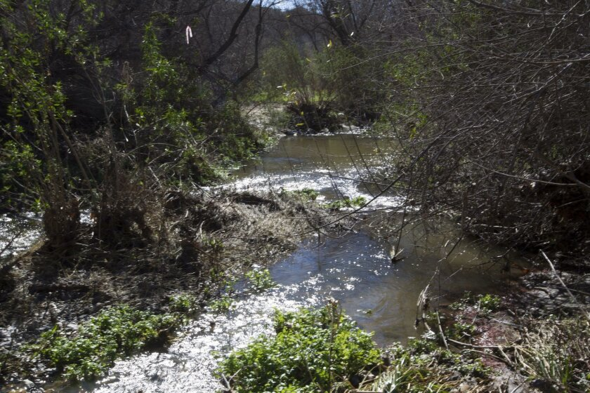 Water flows over rocks on the Santa Margarita River, a 39-mile waterway that flows through Riverside and San Diego counties and Camp Pendleton, Access to the river has been the subject of the longest-running legal battle in San Diego County.
