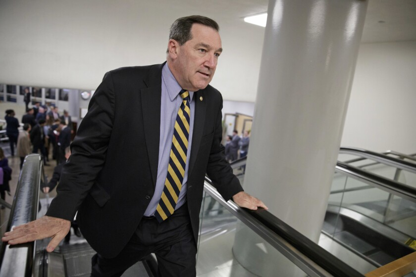 U.S. Sen. Joe Donnelly, D-Ind., arrives for the confirmation vote for Supreme Court nominee, Neil Gorsuch, on Capitol Hill in Washington on April 7, 2017.