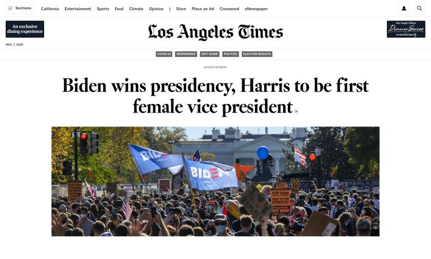 Latimes.com homepage: Biden wins presidency, Harris to be first woman VP