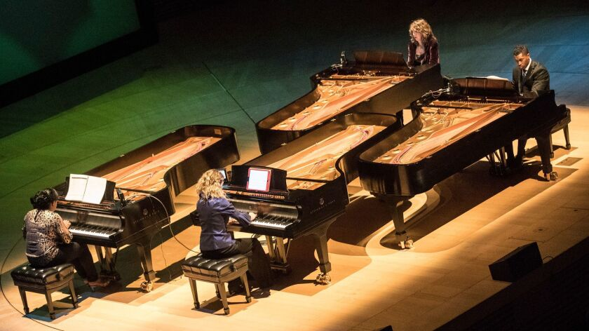 LOS ANGELES, CALIF. -- TUESDAY, FEBRUARY 20, 2018: Pianists Joanne Pearce Martin, Dynasty Battles,