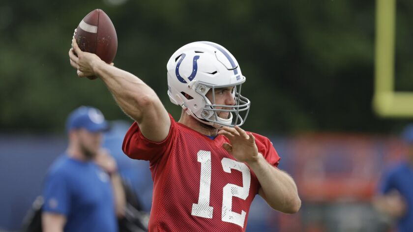 Indianapolis Colts quarterback Andrew Luck (12) throws during practice at the NFL football team's tr