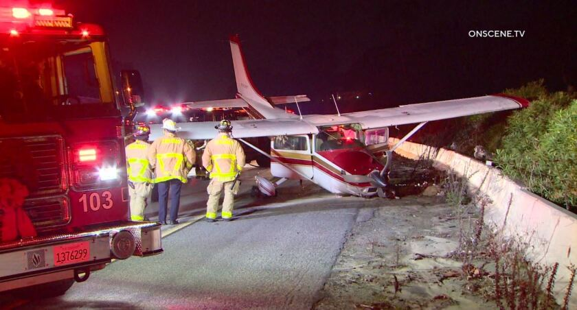 Small airplane lands on 5 Freeway in Carlsbad