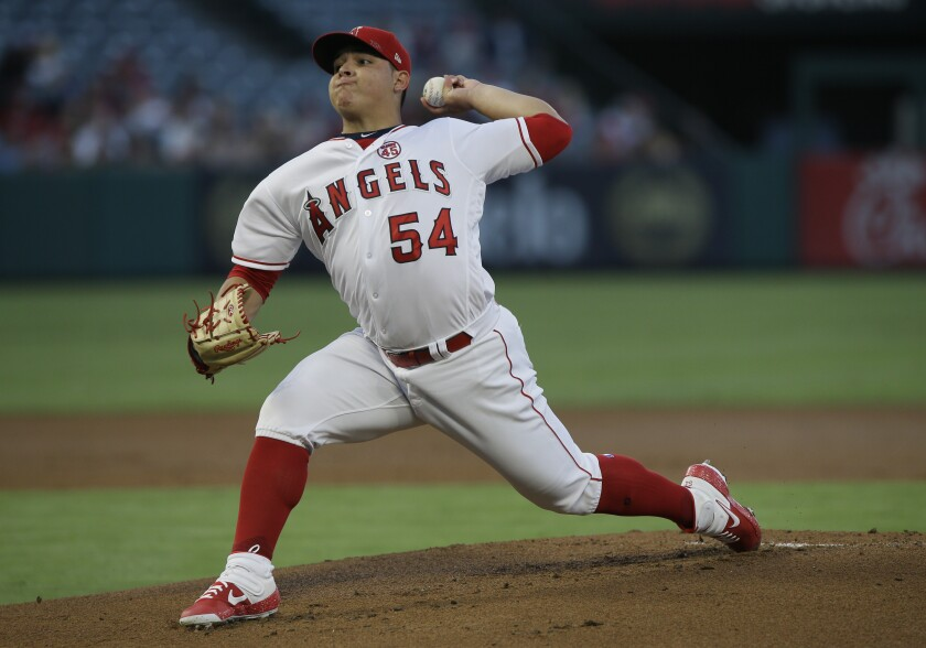 Angels starting pitcher Jose Suarez throws during Monday's 10-2 loss to the Pittsburgh Pirates.