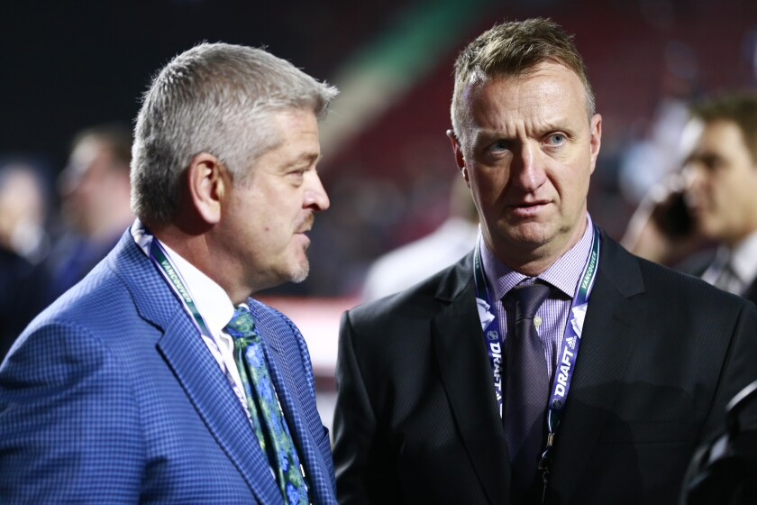 First-year Kings coach Todd McLellan, left, and general manager Rob Blake attend the 2019 NHL Draft at Rogers Arena in Vancouver on June 21.