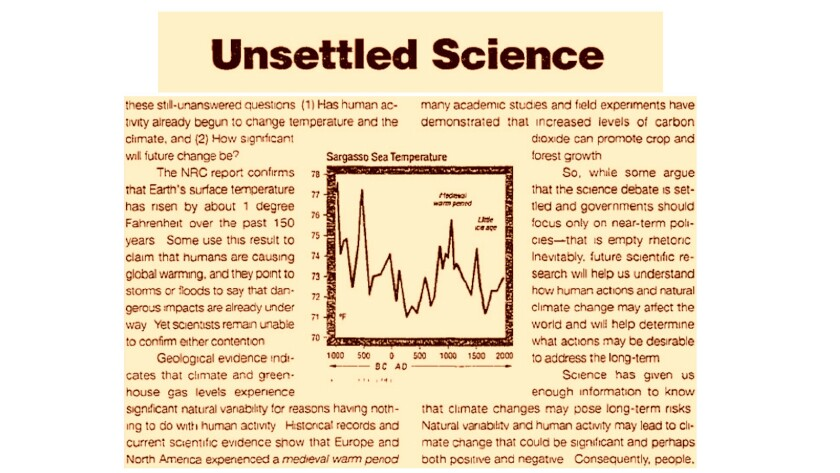 """In this snippet from a 2000 """"advertorial,"""" Exxon Mobil claimed that science pointing to human respon"""