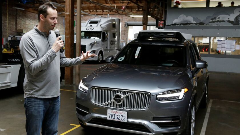 FILE- In this Dec. 13, 2016, file photo, Anthony Levandowski, head of Uber's self-driving program, s