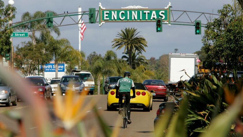 February 23, 2011, Encinitas, California, USA_View looking north up S. Coast Highway 101 in downtown