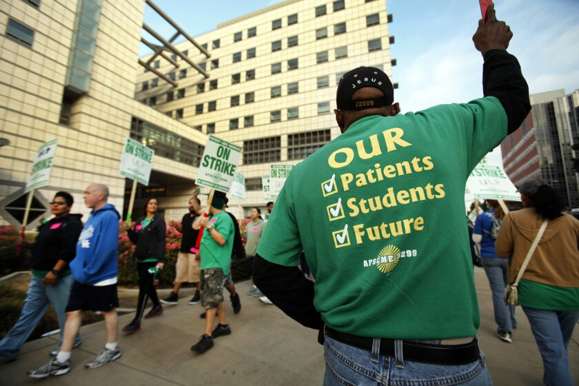 UC workers' one-day strike affects campuses and medical centers