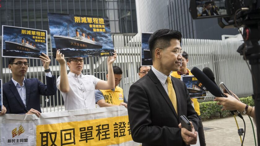 Gary Fan talks to the media in front of the Legislative Council of the Hong Kong Special Administrat