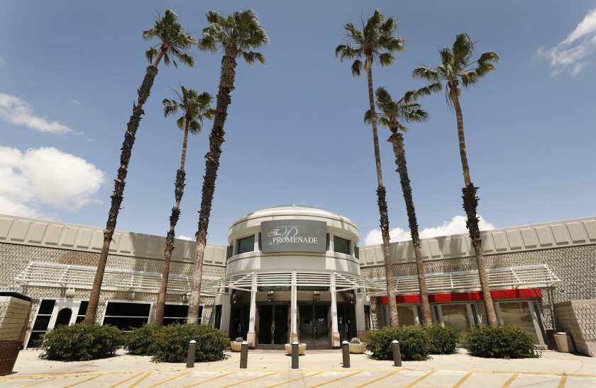 The mostly empty Promenade mall in Woodland Hills might have been the site of a minor-league ballpark for the Dodgers -- until the Angels said no.