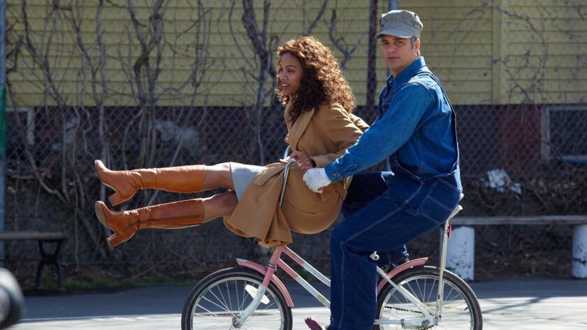 "Aoe Saldana, left, as Maggie Stuart, and Mark Ruffalo as Cam Stuart, in a scene from the film ""Infinitely Polar Bear."""