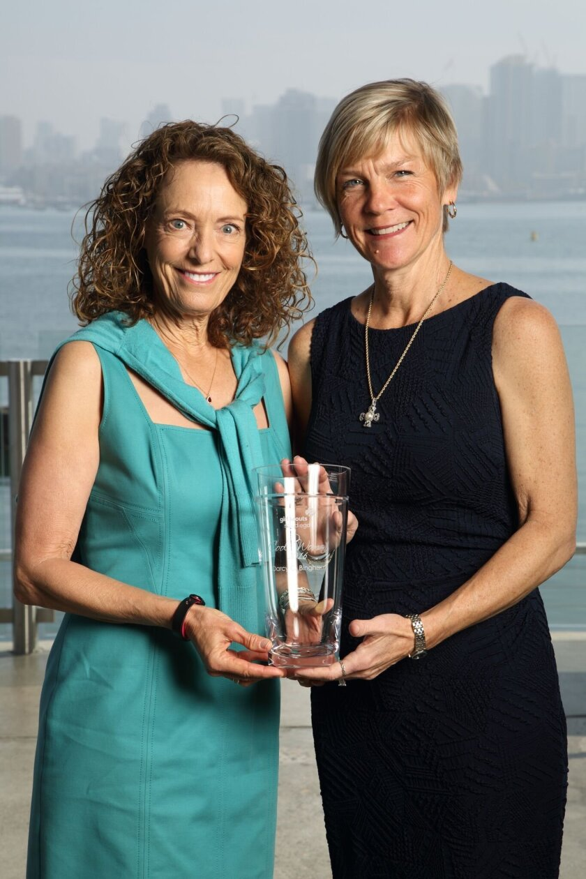 Del Mar residents Linda Katz, who was named a Cool Woman in 2002, welcomed Darcy Bingham to the Cool Women Class of 2016 during Girl Scouts San Diego's awards celebration.
