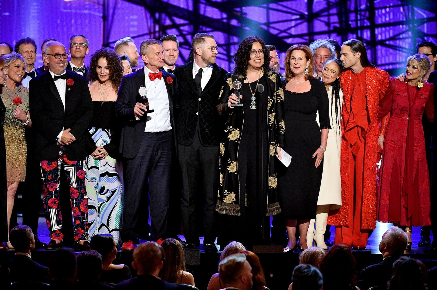 """The cast and producers of """"Hadestown"""" accept the award for best musical at the 2019 Tony Awards."""