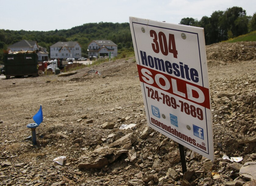 A housing development is seen under construction in Zelienople, Pa., last fall.
