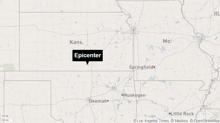 A magnitude 4.8 earthquake struck Wednesday afternoon 33 miles southwest of Wichita, Kan., according to the U.S. Geological Survey.