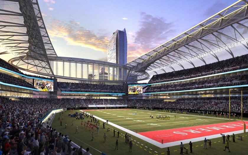 """FILE - In this undated image provided by AEG, the proposed NFL stadium to be named Farmers Field in Los Angeles is shown in an artist's rendering. Developer AEG said in a statement Monday, March 9, 2015, that it is """"no longer in discussion with the NFL or any NFL team."""" The announcement leaves two clear contenders for the NFL's return to the area, both in cities just outside Los Angeles: A stadium in Inglewood proposed in January with the backing of St. Louis Rams owner Stan Kroenke, and a project in Carson announced last month with the joint backing of the Oakland Raiders and San Diego Chargers (AP Photo/AEG, File)"""