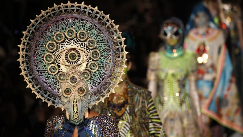 Models wear creations as part of the Manish Arora ready to wear Fall-Winter 2019-2020 collection, th