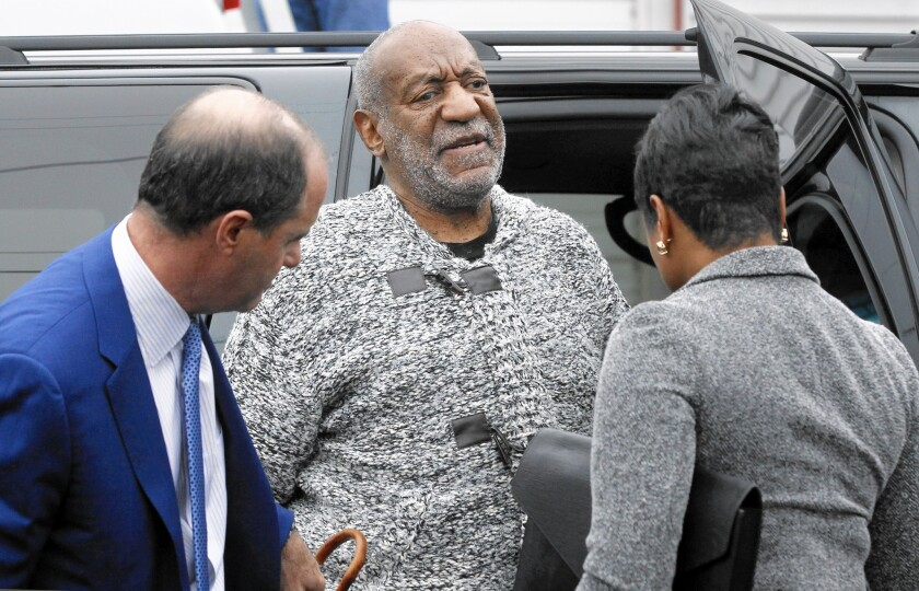 Bill Cosby arrives for a court appearance on Dec. 30, 2015, in Elkins Park, Pa.