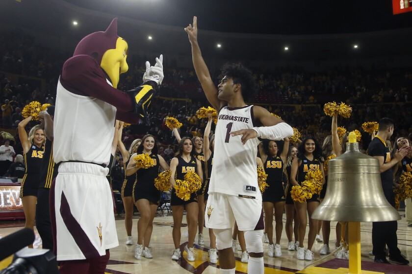 Arizona State's Remy Martin, who had 24 points, celebrates after the Sun Devils rallied past Arizona on Jan. 25, 2020.