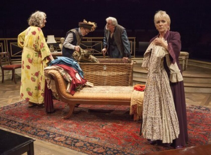Jill Tanner (as Cecily Robson), Robert Foxworth (as Reginald Paget,) Roger Forbes (as Wilfred Bond), and Elizabeth Franz (as Jean Horton) star in 'Quartet.' Jim Cox