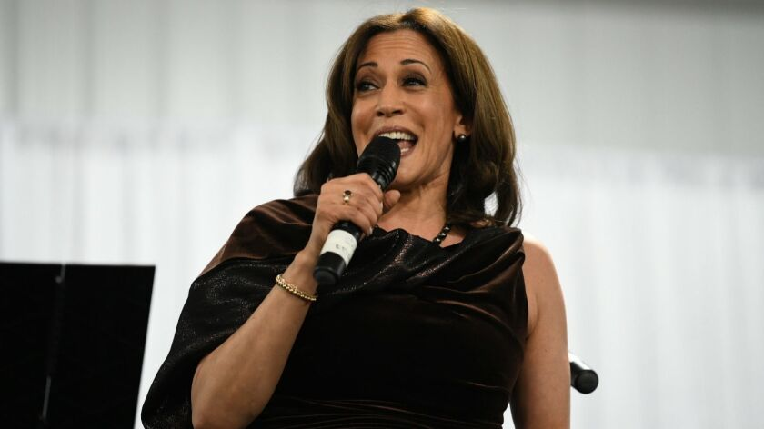 California Sen. Kamala Harris appears at a fundraiser for Alpha Kappa Alpha Sorority Inc., of which