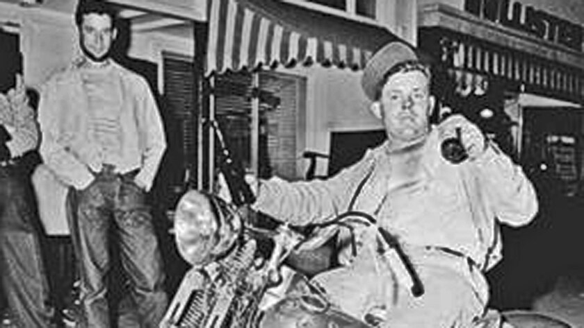 This staged 1947 photo ran in Life magazine and helped give rise to the outlaw biker image.