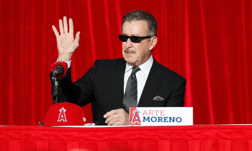 Angels owner Arte Moreno at a news conference.