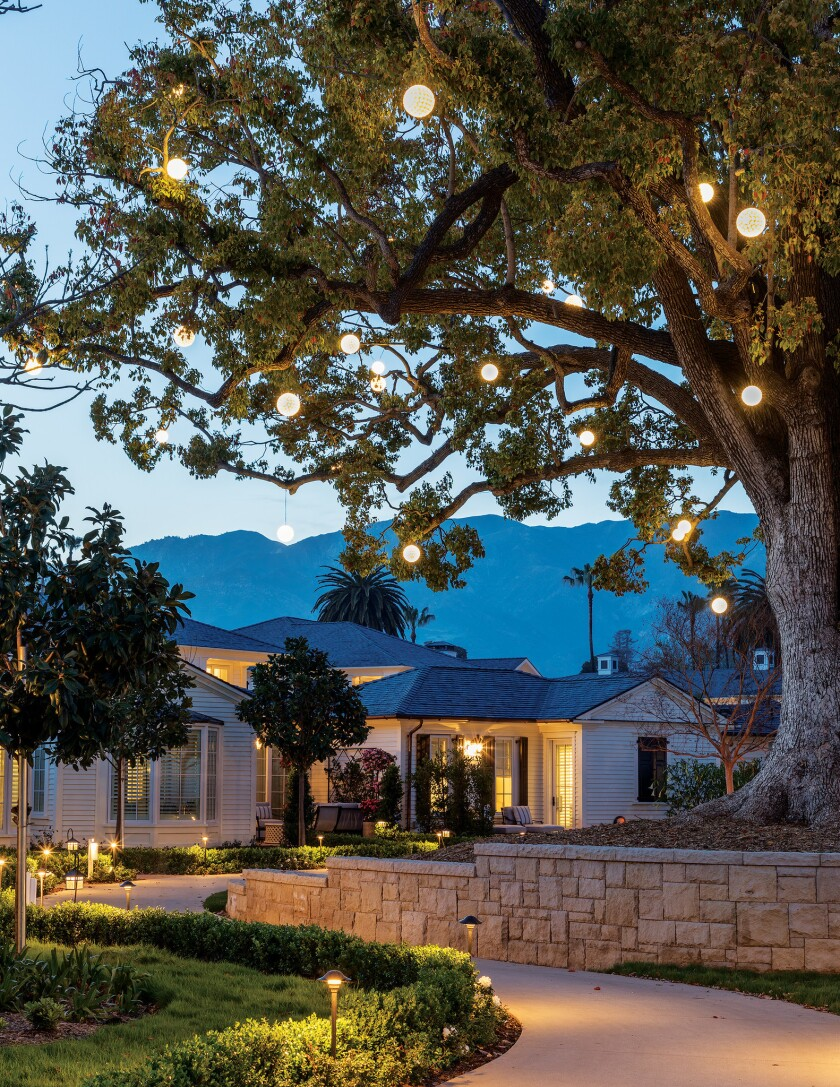 Exterior Walkway with lanterns at the Rosewood Miramar Beach hotel in Montecito, CA