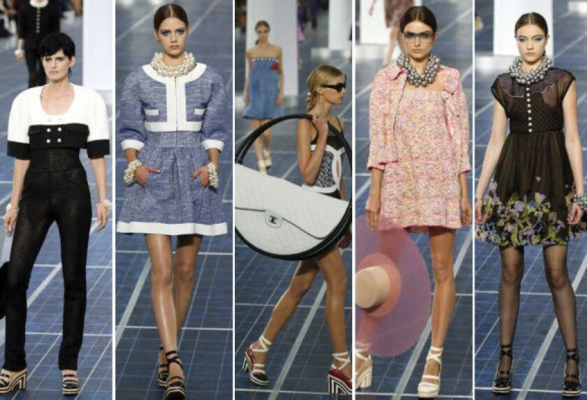 Looks from the Chanel spring-summer 2013 runway collection shown during Paris Fashion Week.