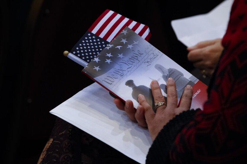 A U.S. citizenship ceremony in San Diego.