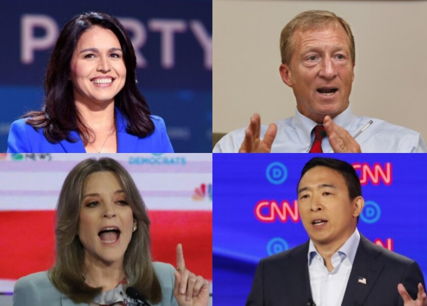Tulsi Gabbard, Tom Steyer, Andrew Yang and Marianne Williamson