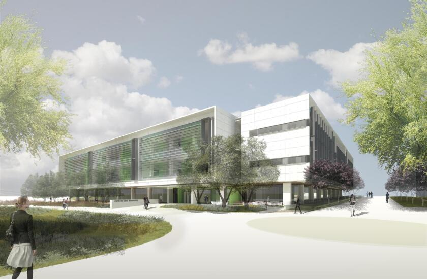 An architectural rendering of the south entrance to the Center for Novel Therapeutics, which broke ground April 11 and will open in 2019. The 135,000-square-foot facility, located next to Moores Cancer Center on the east campus of UC San Diego, will house university scientists, local research organizations and biotech companies, all focused on cancer and related chronic diseases.