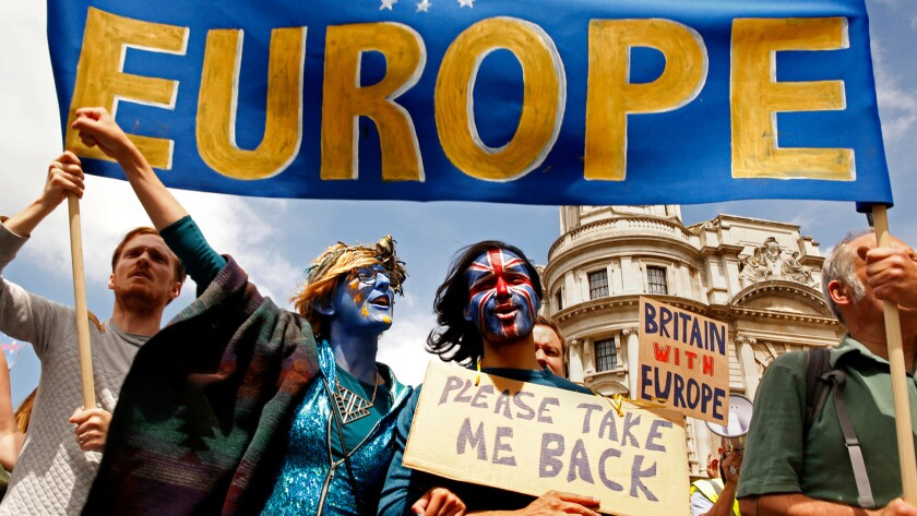 """""""Brexit"""" opponents show their solidarity with Europe during a protest in London on Saturday."""