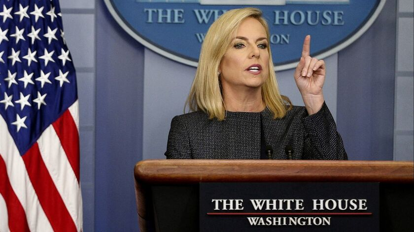 L.A. County supervisors are considering whether to send a letter opposing a plan announced by Homeland Security Secretary Kirstjen Nielsen, shown in June, to deny citizenship or green cards to immigrants who use public assistance.