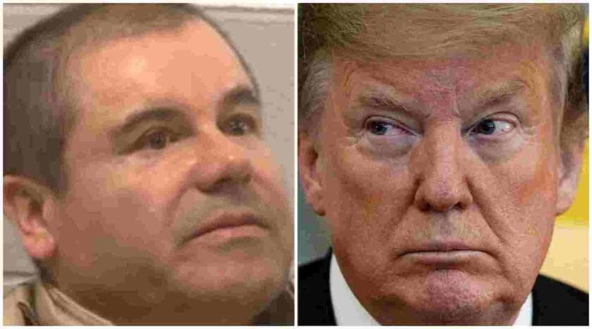 Joaquín 'Chapo' Guzmán (i) y el presidente de Estados Unidos, Donald Trump.