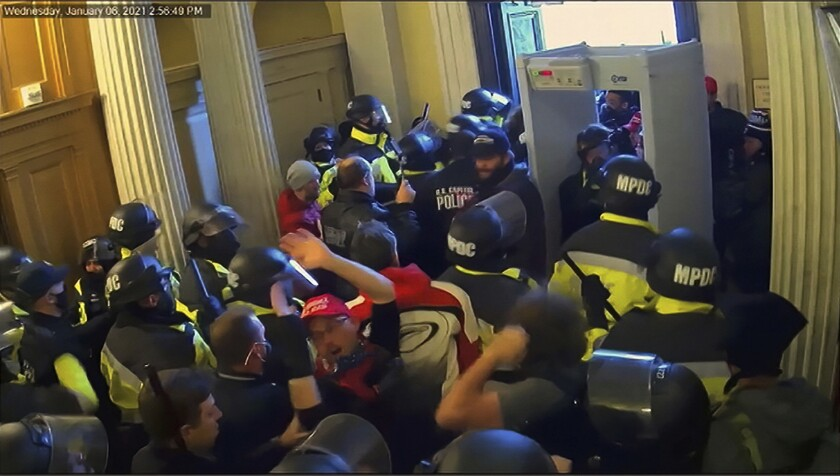 Security video is shown to senators