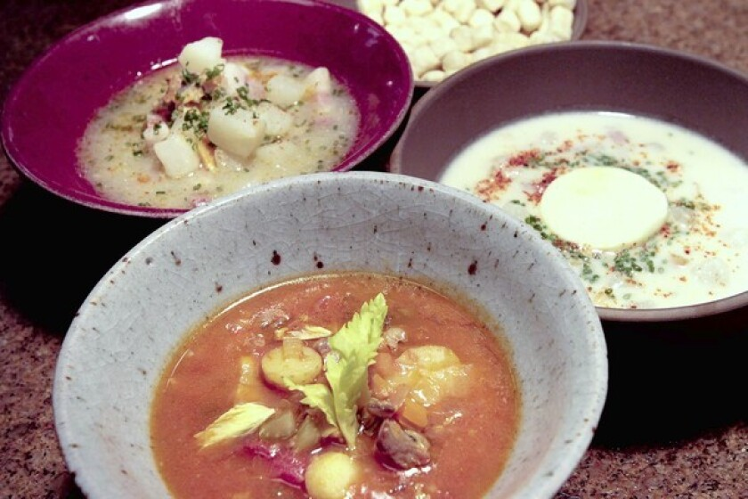 Manhattan clam chowder, foreground, Rhode Island clear clam chowder and Rhode Island cream clam chowder are among the possibilities. Recipe.