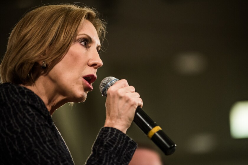 Republican presidential candidate Carly Fiorina speaks at a town hall meeting Tuesday in South Carolina.