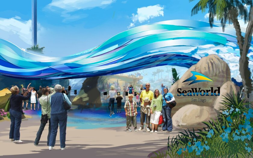 Once completed in early 2014, the new entry to SeaWorld will give visitors the sensation of being under a wave.