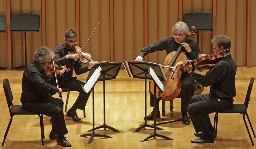 The Arditti String Quartet, from left, Irvine Arditti, Ashot Sarkissjan, Lucas Fels and Ralf Ehlers.
