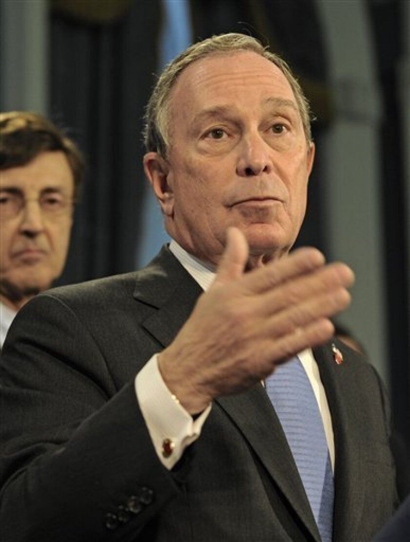Mayor Michael Bloomberg speaks during a press conference at City Hall as commissioner of Office of Emergency Management Joe Bruno looks on Thursday, Feb 5, 2009, in New York. Several New Jersey processing plants in Bergen and Hudson counties were found to be the source of a sweet smelling odor that has been present in New York City since Oct. 2005. (AP Photo/ Louis Lanzano)