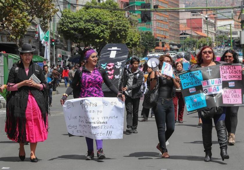 Transgender women march through the streets of La Paz, Bolivia, 21 December 2018. EPA-EFE/MARTIN ALIPAZ