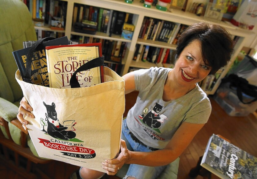 Andrea Vuleta works on items for California Bookstore Day.