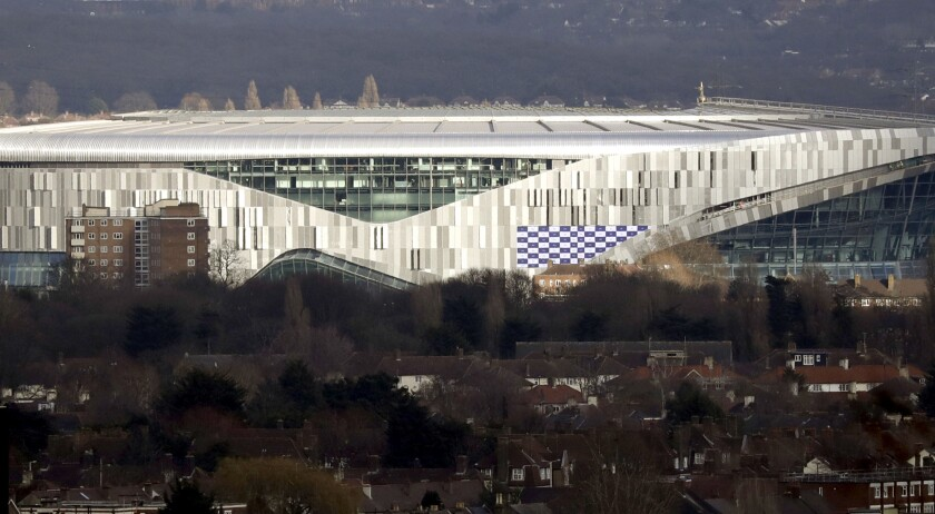 FILE - In this Feb. 20, 2019, file photo, the new Tottenham Hotspur stadium in north London is viewe