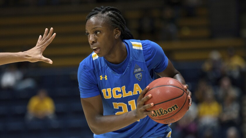 Michaela Onyenwere, shown against Cal on Jan. 4, 2019, had a career-high 31 points and nine rebounds in UCLA's win Friday night.