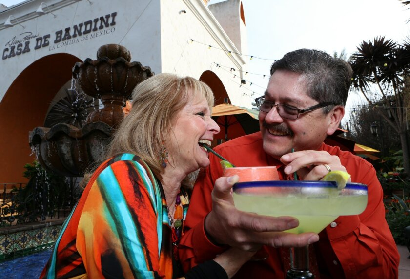 Married restaurant managers Gilbert Gastelum and Julie Bell Gastelum began working together 30 years ago as a busboy and a waitress at a Mexican restaurant in Old Town. Today, they're married and still working for the same company, each one managing their own Mexican restaurant in North County. Restaurant in photo is Casa de Bandini locate in Carlsbad