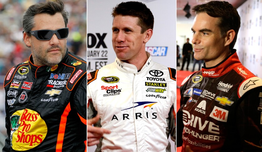 Tony Stewart, Carl Edwards, Jeff Gordon