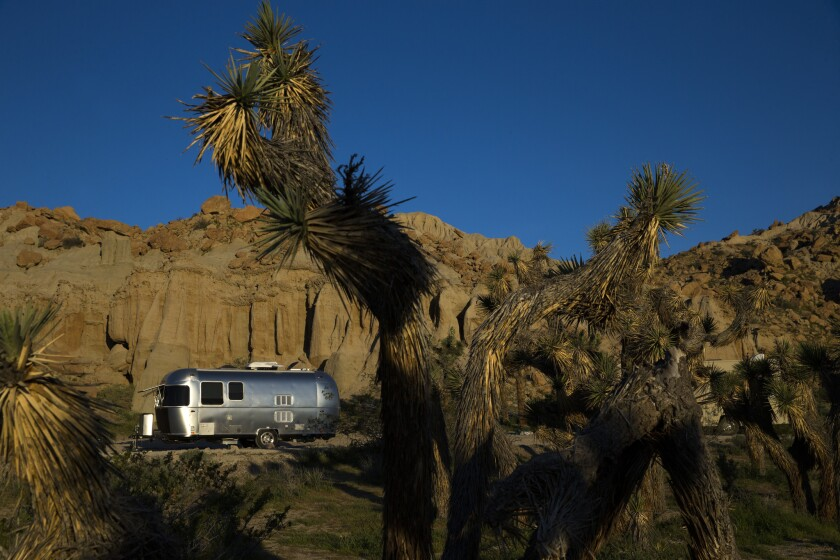 Charles and Julie Fleming camp in an Airstream Bambi Sport at the Red Rocks Canyon Ricardo campground in Red Rocks Canyon State Park near Mojave.